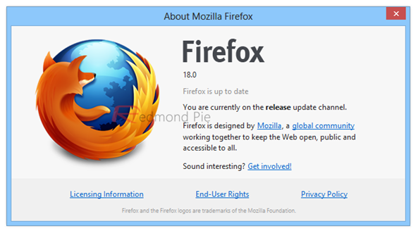 Firefox 18 about screen