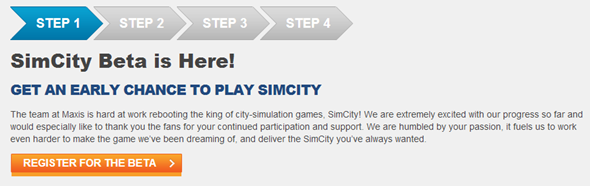 SimCity beta registration