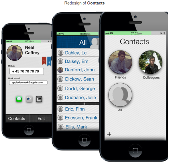 iOS 7 concept contacts