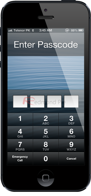 passcode screen iOS