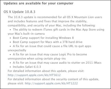 OS X 1083 update