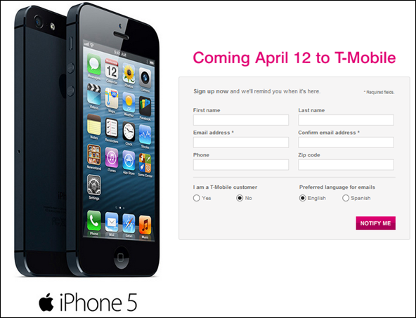 iPhone 5 on tmobile