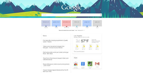 Google Now page chrome