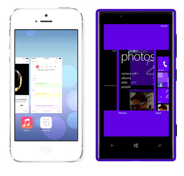 iOS 7 Windows Phone multitasking