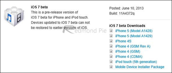 iOS 7 beta 1