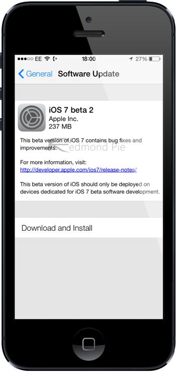 iOS 7 beta 2 iPhone 5