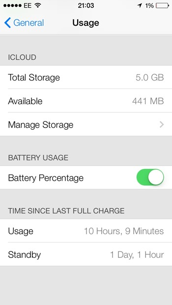 iOS 7 beta - battery