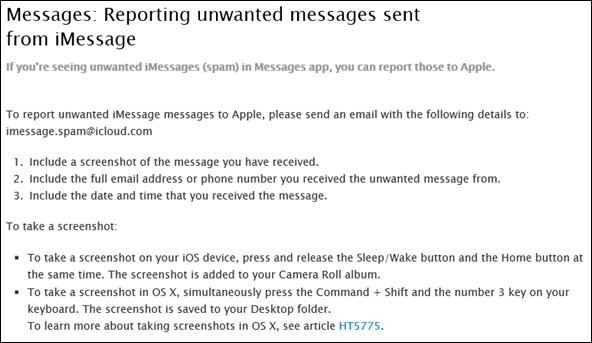iMessages spam reporting