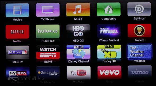 Apple TV vevo home screen 1