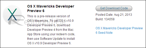 Mavericks Developer Preview 6