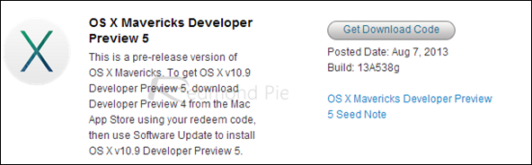 OS X Mavericks Developer Preview 5