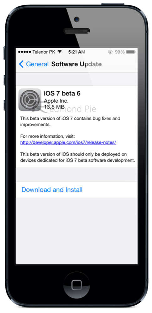 iOS 7 beta 6 iPhone 5