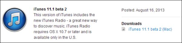 iTunes 11.1 beta 2
