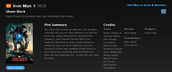Iron Man 3 iTunes