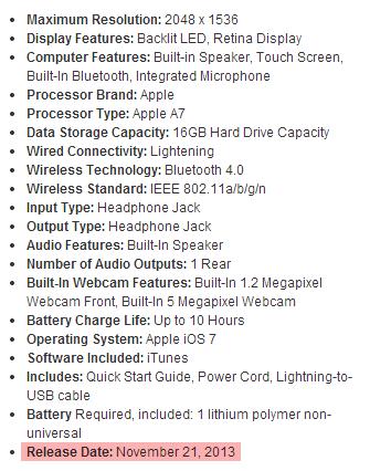 Release date iPad mini retina display