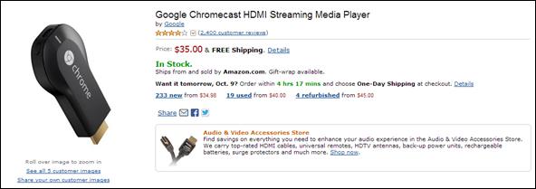 chromecast amazon listing