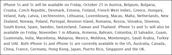 iPhone 5s 5c launch countries november