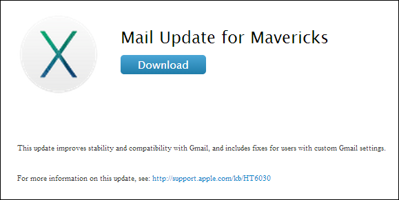 OS X Mavericks mail update