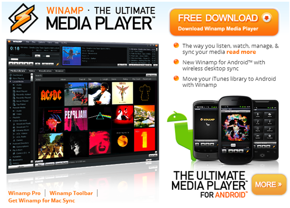 Winamp homepage
