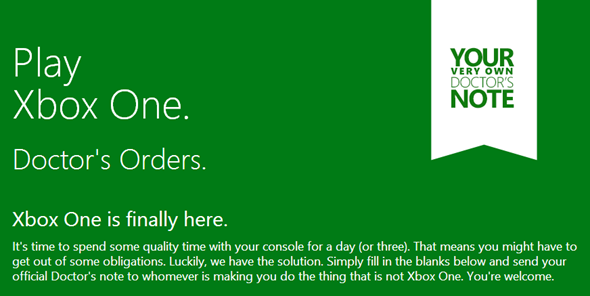 Xbox One Doctors Note