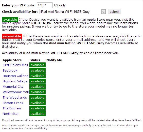 iPad mini stock checker