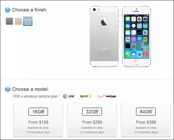 iPhone 5s shipping times