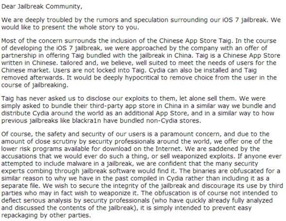 The Story Behind iOS 7 Jailbreak: Evasi0n7, TaiG App Store