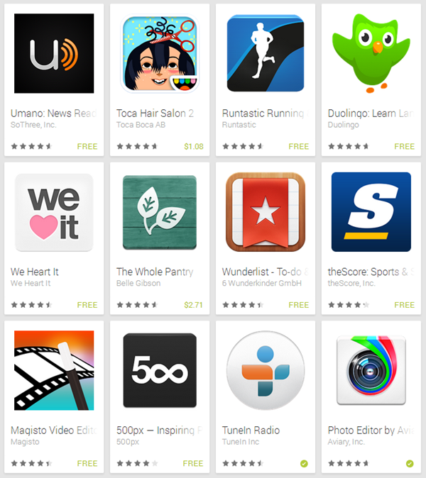 Play Store apps 2013
