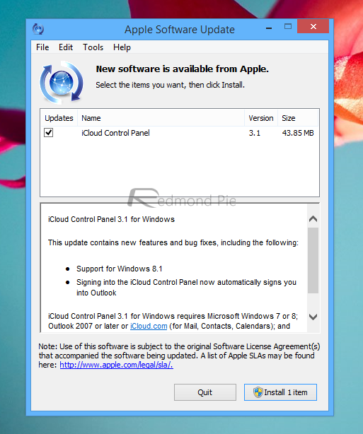 iCloud Control Panel 3 1 With Support For Windows 8 1