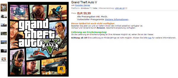 GTA 5 for PC Amazon