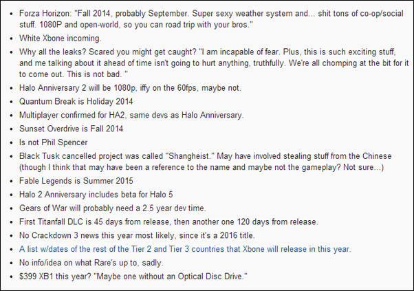 Xbox One 2014 list