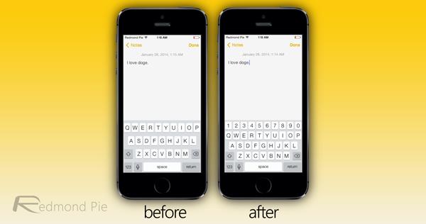 numerical keyboard row iOS