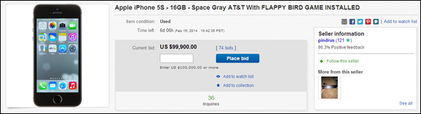 5s flappy bird auction