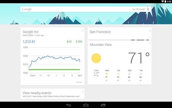 Google Now Launcher tablet