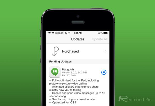 Hangouts 2 update iOS