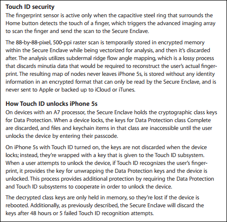 Touch ID security document