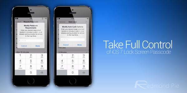 iOS 7 lock screen passcode header