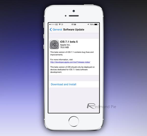 iOS 71 beta 5 OTA