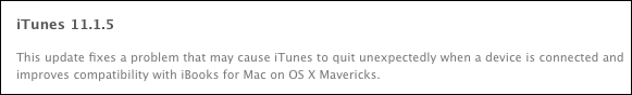 iTunes 1115 update changelog