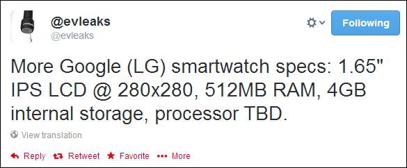 Google smartwatch specs