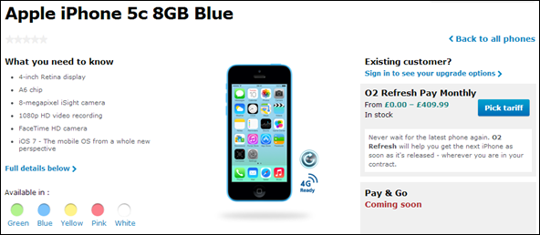 O2 8GB iPhone 5c