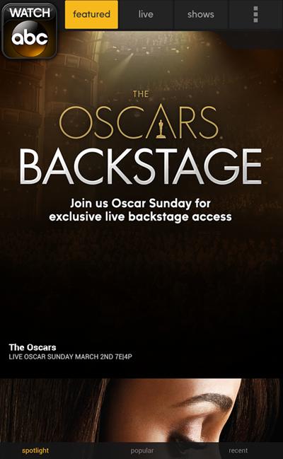 Oscars Watch ABC iPhone