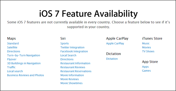 iOS 7 features availability