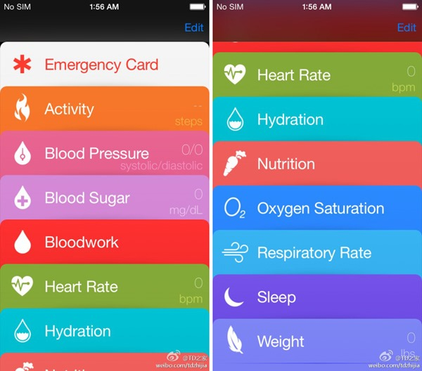 iOS 8 healthbook screenshots