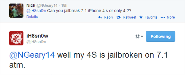 iPhone 4s jailbreak tweet
