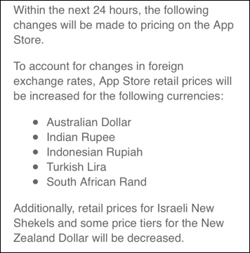 App Store price adjustment