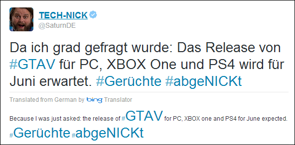 GTA5 tweet Xbox One PS4
