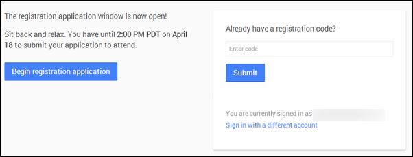 Google IO 2014 registration page