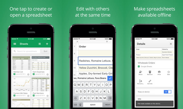 Google Spreadsheets iOS