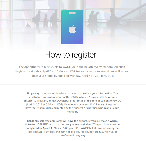 WWDC 2014 tickets registration